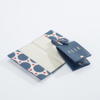 ELLE Printed Passport Cover with Luggage Tag