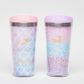 Tri-Coastal Mermaid Printed Travel Mug with Lid - Set of 2