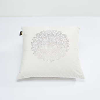 19V69 Embellished Filled Cushion - 45x45 cms