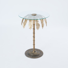Round Accent Table with Palm Tree Stand