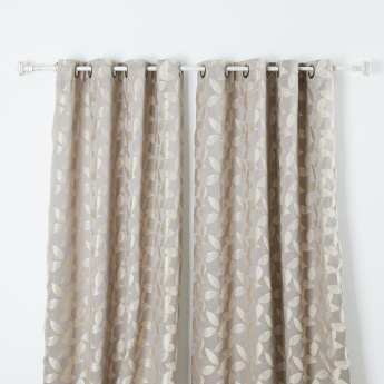 Lara Jacquard Printed Curtain Pair with Lining - 135x260 cms
