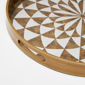 Printed Round Tray with Cutout Handles