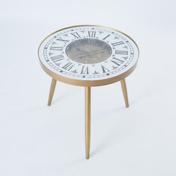 Round Side Table with Battery Operated Clock