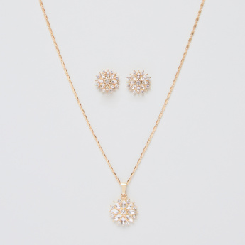 Sasha Studded Flower Pendant Necklace and Earrings Set