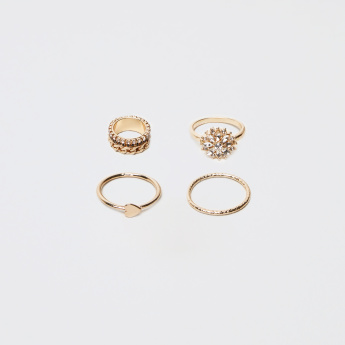 Sasha Metallic Finger Ring - Set of 4