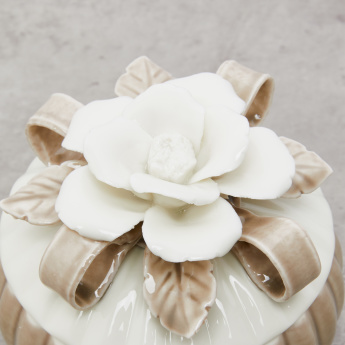 White Flower Applique Textured Jar