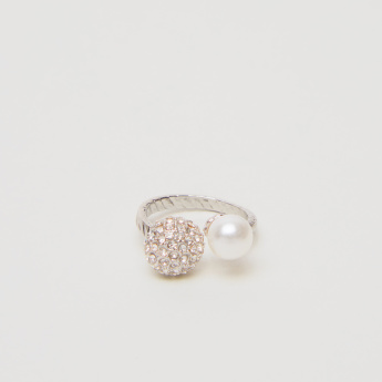 Sasha Studded Open Ended Finger Ring with Pearl Detail