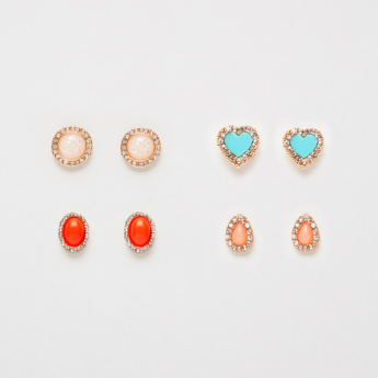 Sasha Studded Earrings with Push Back Closure - Set of 4