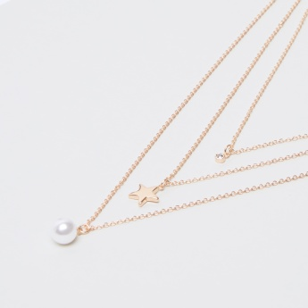 Sasha Pearl Detail Multilayer Metallic Necklace and Earrings Set