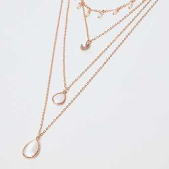 Sasha Studded Tear Drop Multi-Layer Long Necklace with Lobster Clasp
