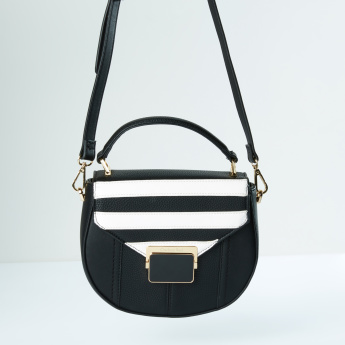 Charlotte Reid Satchel Bag with Striped Flap