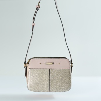 Charlotte Reid Glitter Crossbody Bag with Zip Closure