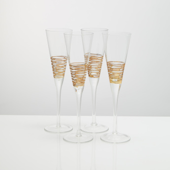 Circleware Gold Swirl Flute - Set of 4