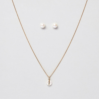Sasha Arabic Letter Alif Necklace and Pearl Earrings Set