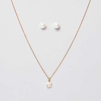 Sasha Arabic Letter Baa Pendant Necklace and Pearl Earrings Set