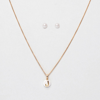 Sasha Arabic Letter Laam Pendant Necklace and Pearl Earrings Set