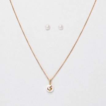 Sasha Arabic Letter Yaa Pendant Necklace and Pearl Earrings Set