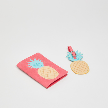 Pineapple Printed Passport Holder with Luggage Tag