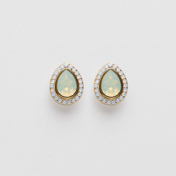 Sasha Studded Tear Drop Shaped Earrings with Push Back Closure