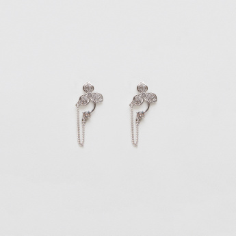 Sasha Studded Earrings with Flower Detail and Push Back Closure