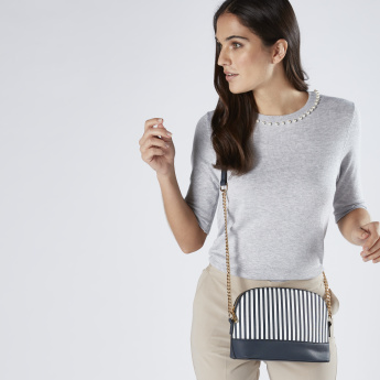 Sasha Striped Crossbody Bag with Chain Detail