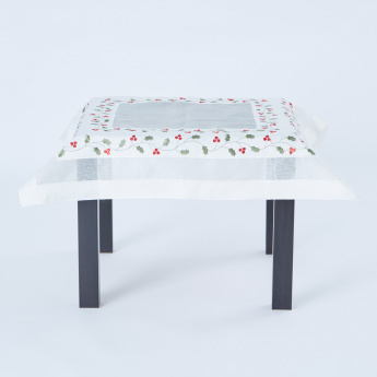 Classic Holly Embroidered Table Topper