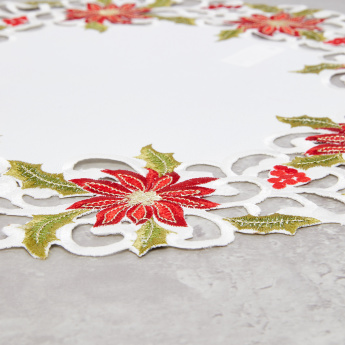Poinsettia Embroidered Doily - Set of 4