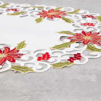 Poinsettia Embroidered Placemat - Set of 4
