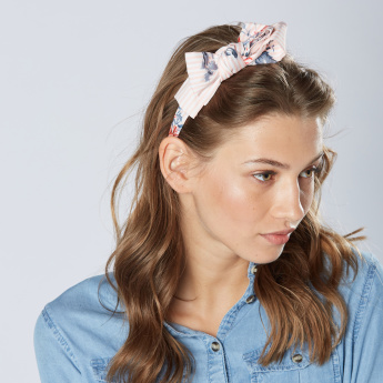 Sasha Floral Printed Bow Detail Hair Band
