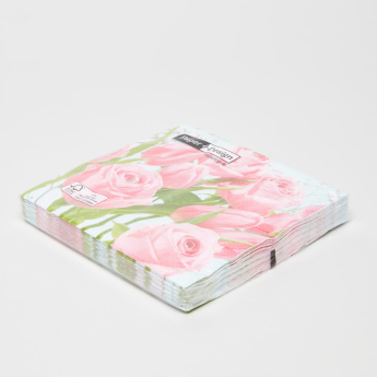 Paper+Design Tulips Meet Roses Printed Paper Napkin - Set of 15