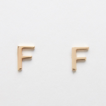 Sasha English Letter F Reversible Earrings with Stud Detail