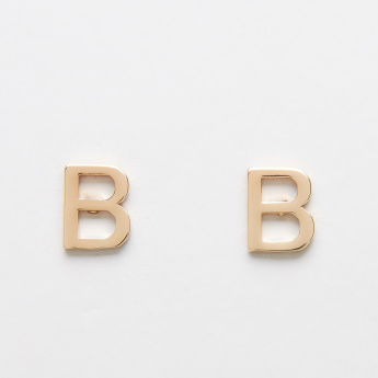 Sasha English Alphabet B Reversible Earrings with Stud Detail