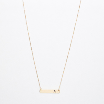 Sasha English Alphabet A Monogram Embossed Pendant Necklace