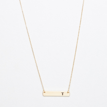 Sasha English Alphabet T Embossed Pendant Necklace
