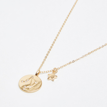Sasha Studded Libra Pendant Necklace with Lobster Clasp