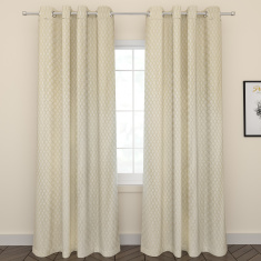 Elena 2-Piece Jacquard Curtain Set with Lining – 135x260 cms