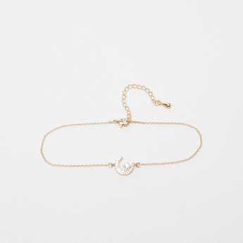 Sasha Studded Moon Anklet with Lobster Clasp