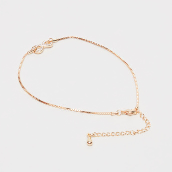 Sasha Infinity Shaped Anklet with Stud Detail and Lobster Clasp