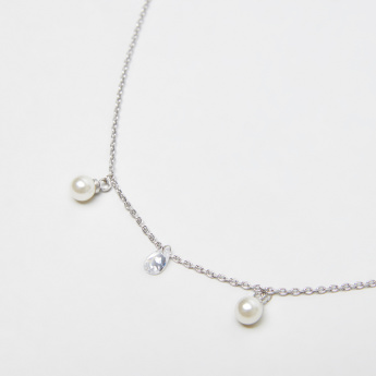 Sasha Pearl and Stud Detail Anklet with Spring Ring Clasp
