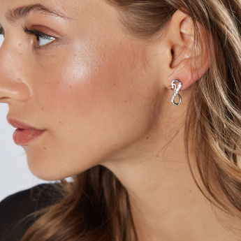 Sasha Infinity and Heart Studded Earrings with Pushback Closure