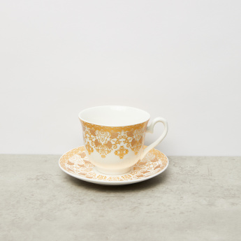Printed 13-Piece Cup and Saucer Set with Silver Stand