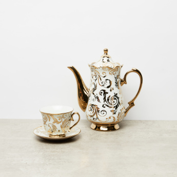 Printed 14-Piece Cup and Saucer Set with Teapot and Stand