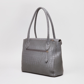 Baggit Crocodile Textured Tote Bag with Flap and Zip Closure