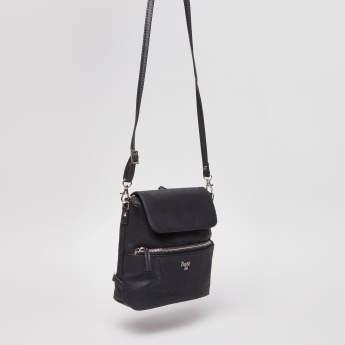 Baggit Textured Satchel Bag with Shoulder Strap