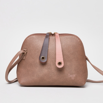 Baggit Crossbody Bag with Textured Pattern and Zip Closure