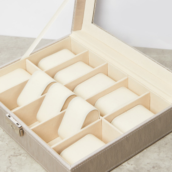 Faux Leather 10-Piece Watch Box