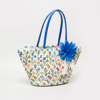 Sasha Textured Beach Bag with Floral Applique