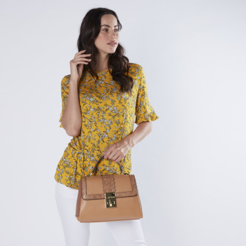 Charlotte Reid Textured and Printed Satchel Bag with Twist Lock