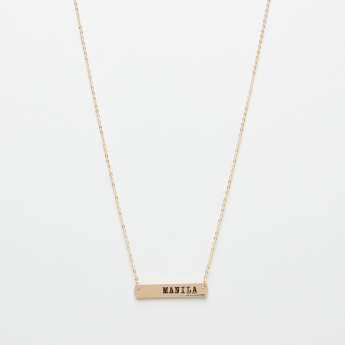 Sentiments Embossed Manila Bar Necklace with Lobster Clasp