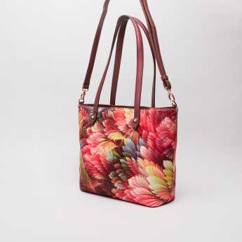 Sasha Aochi Printed Shopper Bag with Detachable Sling Strap